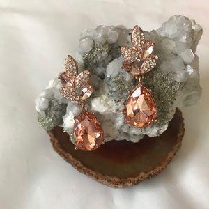 NWOT Rose Gold Diamond Leaf Earrings